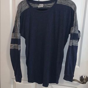 PINK blue and white long sleeve shirt